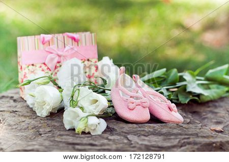 Pink baby booties flowers a gift in the park. Pregnancy concept and a new life
