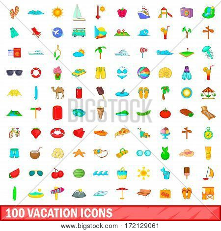 100 vacation icons set in cartoon style for any design vector illustration