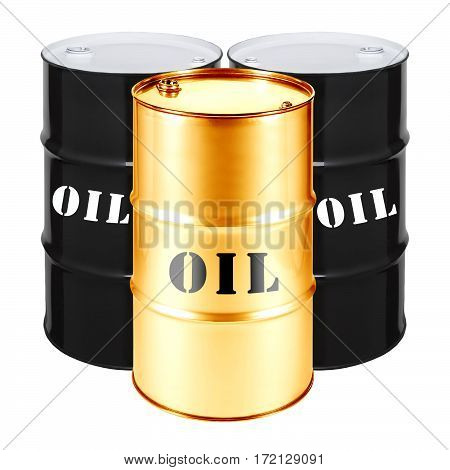 Black And Gold Oil Barrels Isolated On White Background. Black Gold
