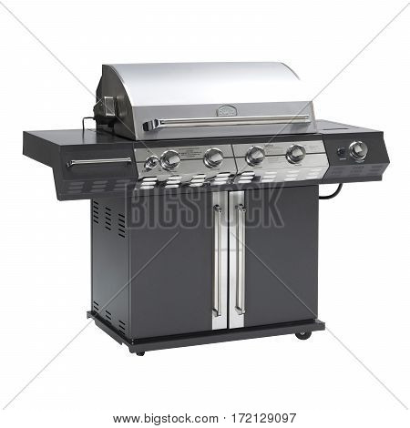 Black Barbecue Gas Grill Isolated On White Background. Outdoor Cooking Station. Outdoor Grill Table.