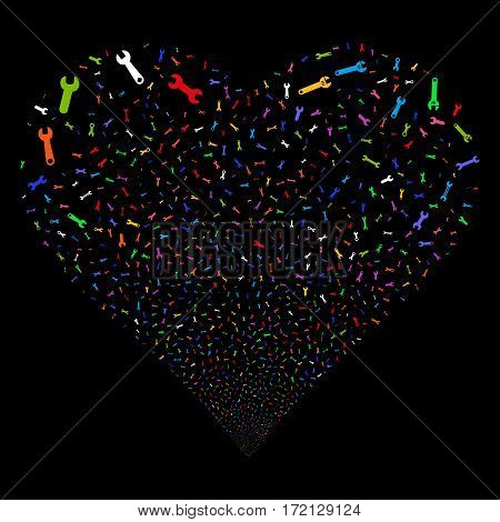 Spanners And Wrenches fireworks with heart shape. Vector illustration style is flat bright multicolored iconic symbols on a black background. Object love heart done from random pictographs.