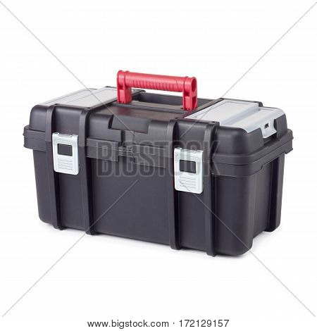 Black Plastic Tool Box. Mechanics Tool Set. Mechanic's Tool Box Isolated On White Background. Mechan