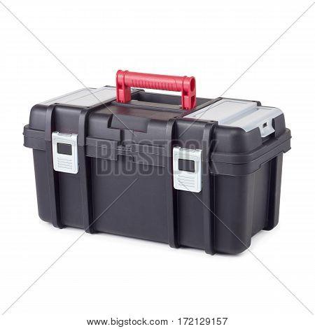Black Plastic Tool Box. Mechanics Tool Set. Mechanic's Tool Box Isolated On White Background. Mechan