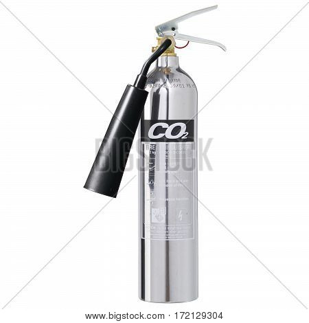 Chrome Fire Extinguisher Isolated on White Background. Carbon dioxide CO2