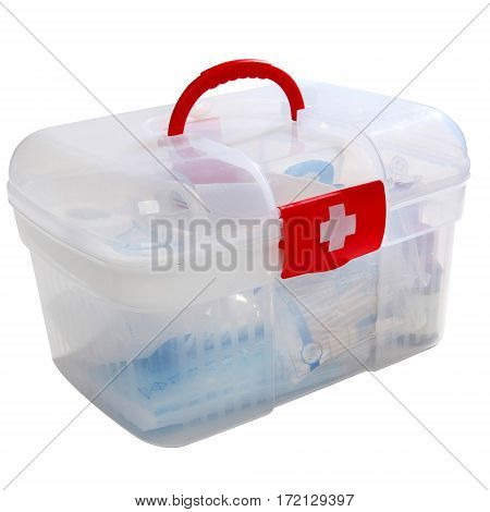 Filled Red First Aid Clear Container Isolated On White. Emergency Kit Storage Box