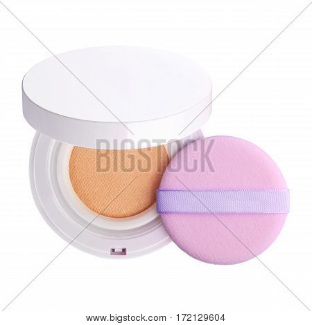 Foundation Makeup Powder in White Round Case Which is Opened and Velour Pink Powder Puff With Ribbon Isolated on White Background. Ideal for Beauty Product Mock Up