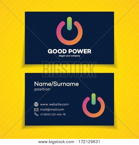 Business card with power logo set modern colorful style design template perfect for your branding identity. Energy switch logo. Vector Illustration