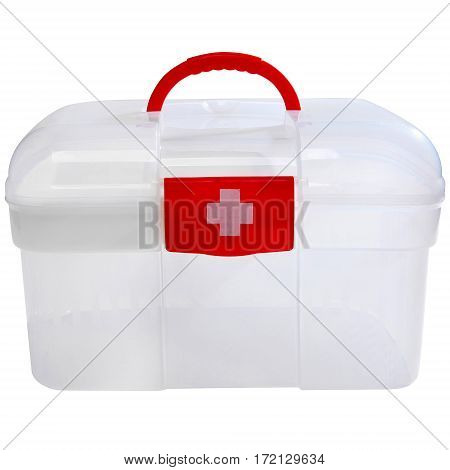 Front View Red First Aid Clear Container Isolated on White. Emergency Kit Storage Box