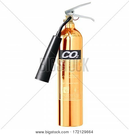 Gold Fire Extinguisher Isolated on White Background. Carbon dioxide CO2