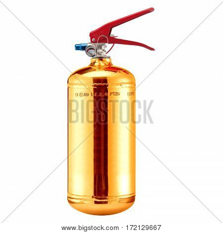 Gold Fire Extinguisher Isolated on White Background