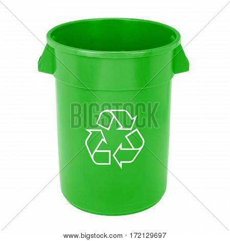 Green Recycle Bin Isolated On White Background