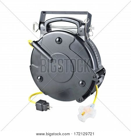 Industrial Retractable Extension Cord Isolated On White Background. Electrical Сable. Reel