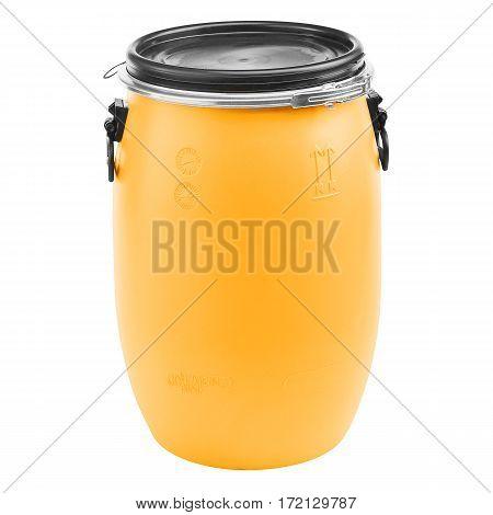 Orange Plastic Barrel Isolated on White Background. Storage Drum