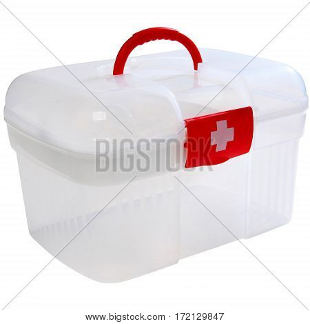 First Aid Clear Container Isolated on White. Emergency Kit Storage Box.