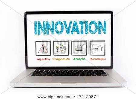 Innovation Business concept. Laptop isolated on white background.