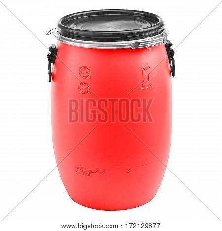 Red Plastic Barrel Isolated on White Background. Storage Drum