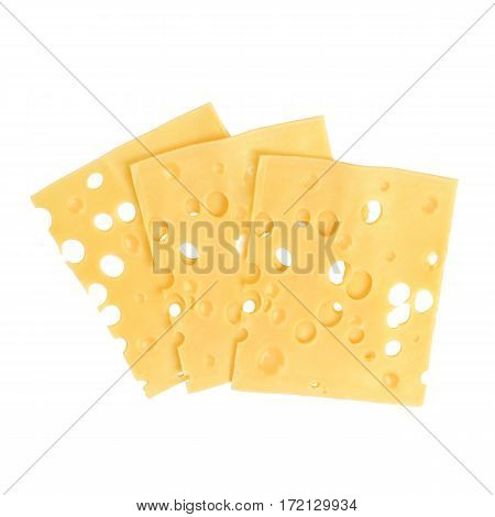 Three Thin Slices of Swiss Cheese on White Background