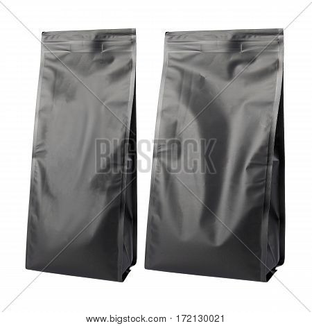 Two Black Blank Side Gusset Foil Coffee Bags With Degassing Valve Isolated on White Background. Aluminium coffee package. Packaging template mockup collection. Clipping Path.