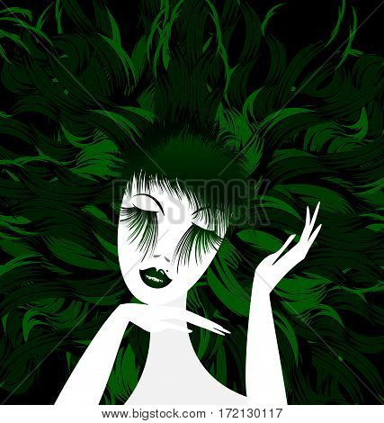 black background and abstract white green-haired womans head