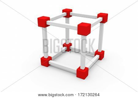 block chain in the form of a lattice 3D illustration