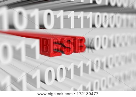 esb is a binary code with blurred background 3D illustration