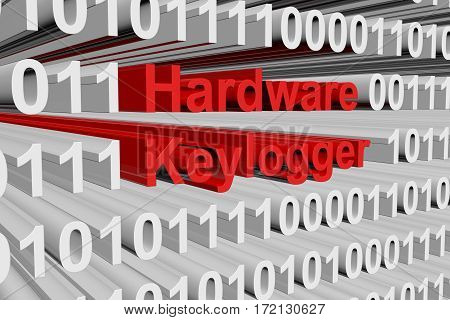 hardware keylogger in the form of binary code, 3D illustration