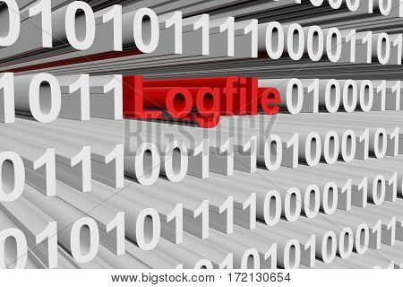 logfile as a binary code 3D illustration
