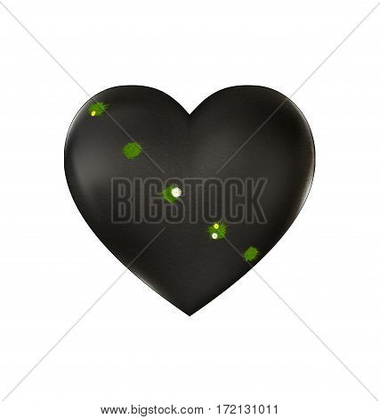 white background and the large stone wounded heart-stone with traces of shots and flowering grass