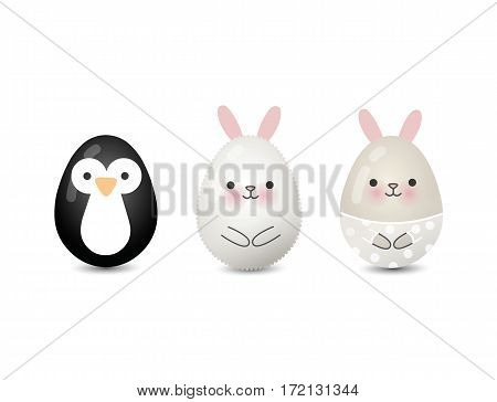 Vector illustration of easter eegs animals painted, cute penguin and bunny