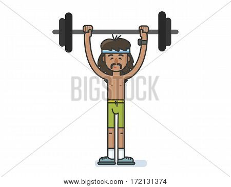 Vector illustration of funny cartoon character sportsman with a barbell.