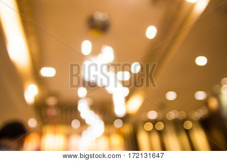 Abstract blurred light bokeh in restaurant background