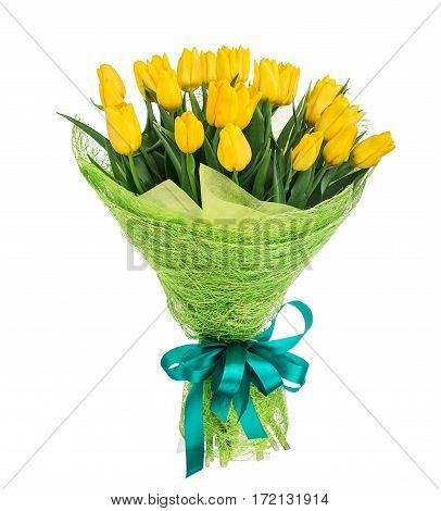 Bouquet of yellow tulip flowers over white background