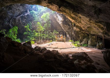 Khao Sam Roi Yot National Park outdoor landscape, Thailand, Southeast Asia famous royal pavilion in Phraya Nakhon cave. Morning sunbeam on golden buddhist pavilion in wild cave, Sam Roi Yot, Thailand
