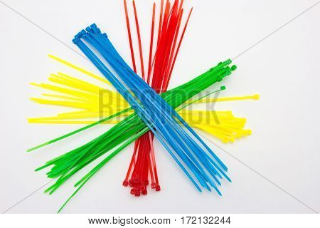 Close Up Of Nylon Cable Ties On White Background