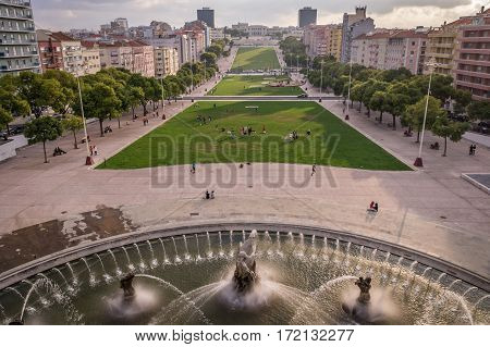 View from Fonte Luminosa luminous fountain on Alameda Park, Lisbon, Portugal
