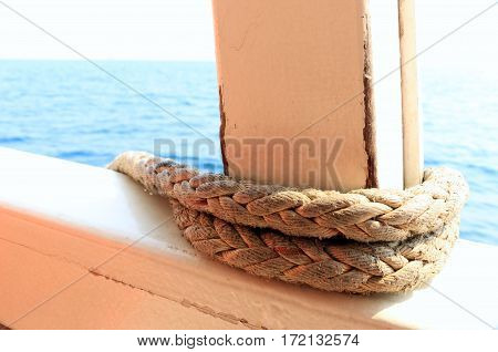 Rope on the transportation boat for moor