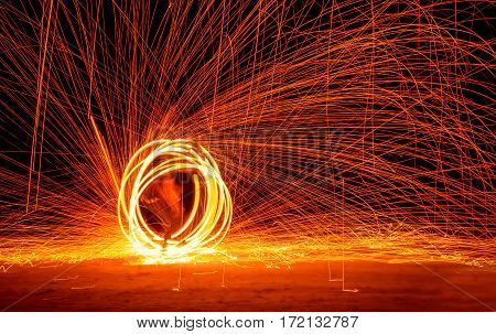 Fire Show at night on Phi-Phi island Holiday travelers. Thailand