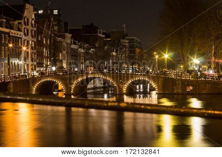 View of Canals in Amsterdam at night