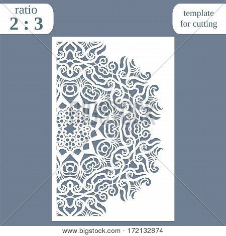 Laser cut wedding card template paper openwork greeting card template for cutting lace invitation lasercut metal panel vector illustration