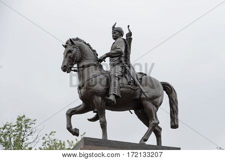 Statue of Zynoviy Bogdan Khmelnytsky he was the Hetman of the Zaporozhian Host of the Crown of the Kingdom of Poland in the Polish-Lithuanian Commonwealth (now part of Ukraine). He led an uprising against the Commonwealth and its magnates which resulted i
