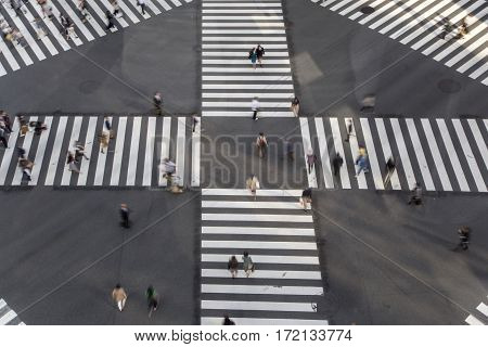 High Angle Of People Across The Crosswalk