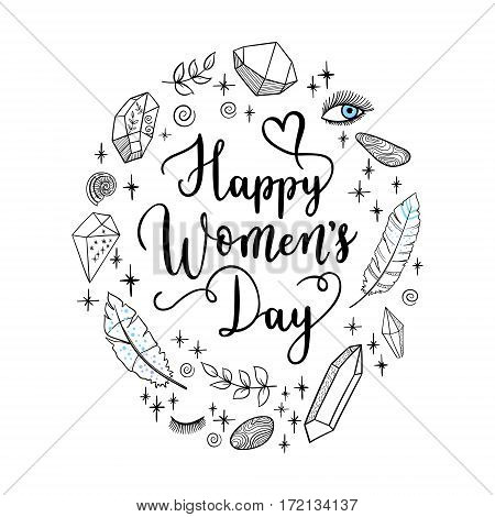 Happy Womens Day Greeting Card, Poster. Vector Holiday Background With Hand Lettering.