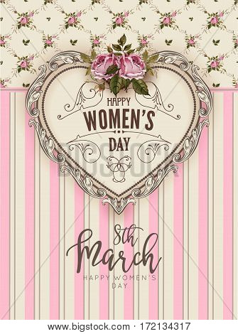 Women Day retro greeting card of heart ornate decoration. Flower bouquet arrangement and flourish pattern on floral pink vector background for 8 March holiday