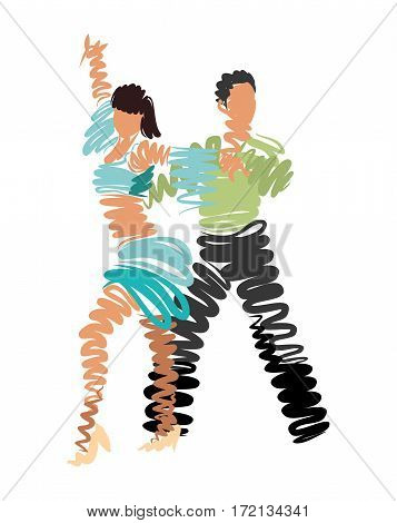 couple dancing. vector stylized watercolor drawing. festival