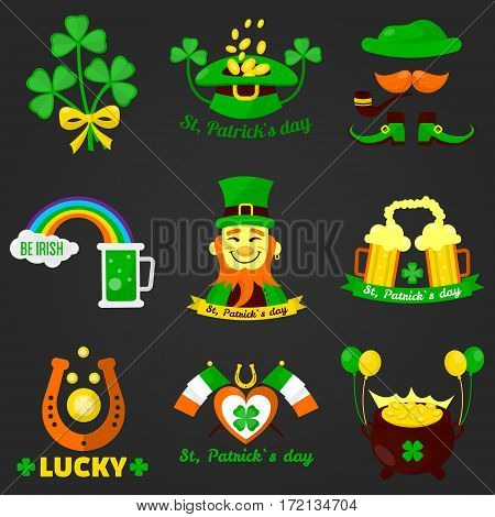 Saint Patrick day Irish holiday feast icons. Vector set of lucky shamrock clover leaf, green ale beer with rainbow, leprechaun elf hat with gold coins pot. Symbols of Ireland flag and horseshoe luck