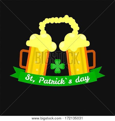 Ale beer mugs and clover for Saint Patrick day. Irish holiday symbol of lucky shamrock and drink party. Traditional Ireland celebration feast vector icon