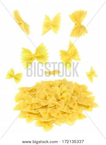 Farfalle pasta flying, isolated on white background