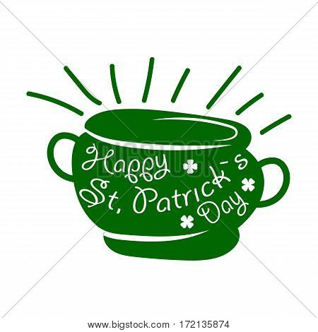 Saint Patrick day symbol of Leprechaun treasure pot and four-leaf clover leaf or lucky shamrock. Irish holiday traditional logo design element for vector greeting card text template