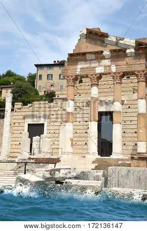 An ancient Roman temple on the banks of Lake Garda - Brescia - Lombardy - Italy