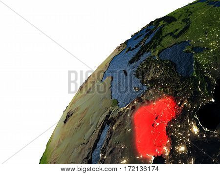 Iraq In Red On Earth At Night